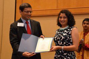 Dr. Jayesh Shah with scholarship awardee Ashka Patel