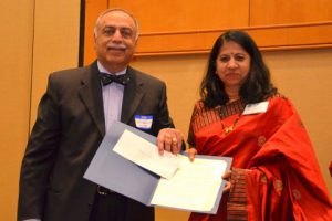 Sneha Mehta with Humanitarian Award from Dr. F .Yousouf
