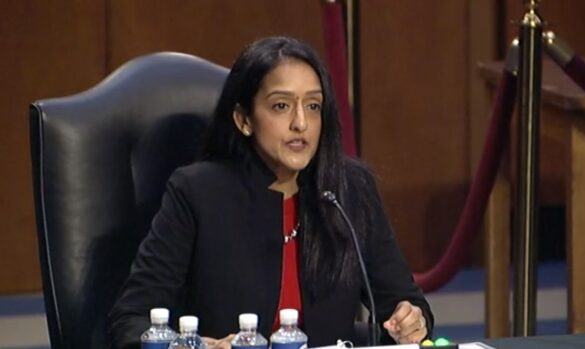 vandana Gupta A0309.jpg: Vanita Gupta, the nominee for associate attorney-general, testifies on Tuesday, March 9, 2021, before the Senate Judiciary Committee that is holding hearings for her confirmation to the post on. (Photo: Senate TV)