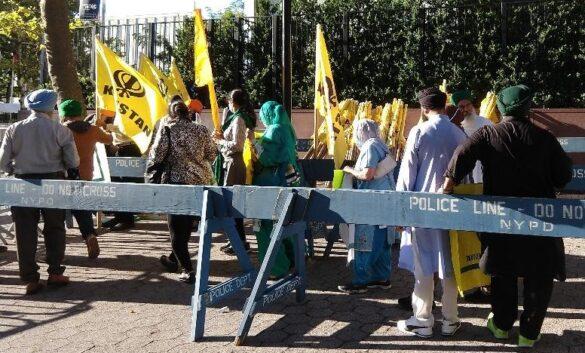 Four protests held outside UN as Modi spoke.