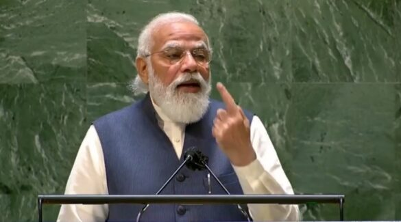 Prime Minister Narendra Modi addressing the United Nations General Assembly in New York on Saturday, September 25, 2021. (Credit: Twitter/ @UN)